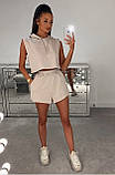 Женский летний костюм  футболка м капюшоном и шорты Турецкая двунитка Размер 42 44 46 В наличии 4 цвета, фото 2