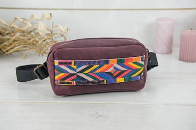 Поясна сумка, вінтажна шкіра, колір Бордо