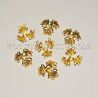 """Обниматели для бусин """"листочки"""", 1,2 см, золото, 10 шт."""