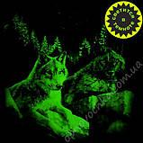 """Мужская светящаяся футболка """"Волки на камне"""" красный размер L, фото 2"""