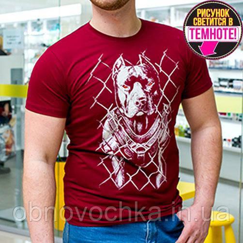 """Мужская светящаяся футболка """"Питбуль сетка"""" бордовый размер M"""