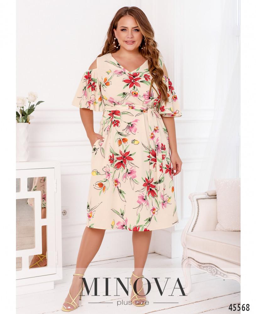Нарядное женское платье с цветочным принтом Софт Размер 50 52 54 56 58 60 62 64 66 68 В наличии 5 цветов