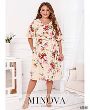 Ошатне жіноче плаття з квітковим принтом Софт Розмір 50 52 54 56 58 60 62 64 66 68 В наявності 5 кольорів