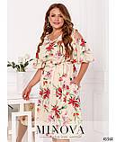 Ошатне жіноче плаття з квітковим принтом Софт Розмір 50 52 54 56 58 60 62 64 66 68 В наявності 5 кольорів, фото 6