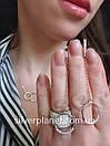 Длинные серебряные серьги подвески геометрия с камушками. Стильные сережки цепочки родированные серебро 925, фото 2