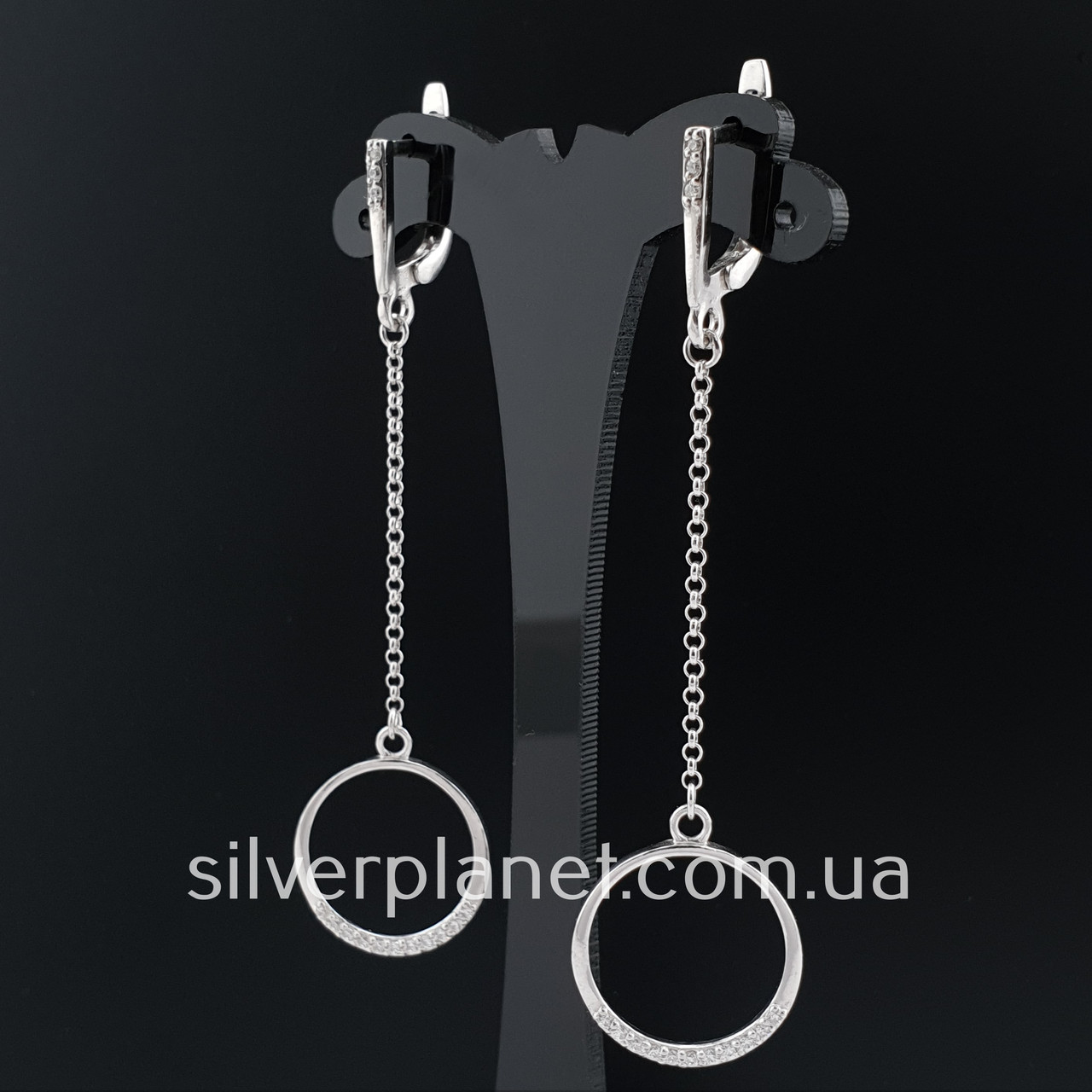 Длинные серебряные серьги подвески геометрия с камушками. Стильные сережки цепочки родированные серебро 925
