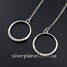 Длинные серебряные серьги подвески геометрия с камушками. Стильные сережки цепочки родированные серебро 925, фото 7