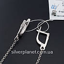 Длинные серебряные серьги подвески геометрия с камушками. Стильные сережки цепочки родированные серебро 925, фото 8