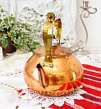Винтажный медный чайник с фарфоровой ручкой, медь, Германия или Европа, 1,9 литра, фото 2