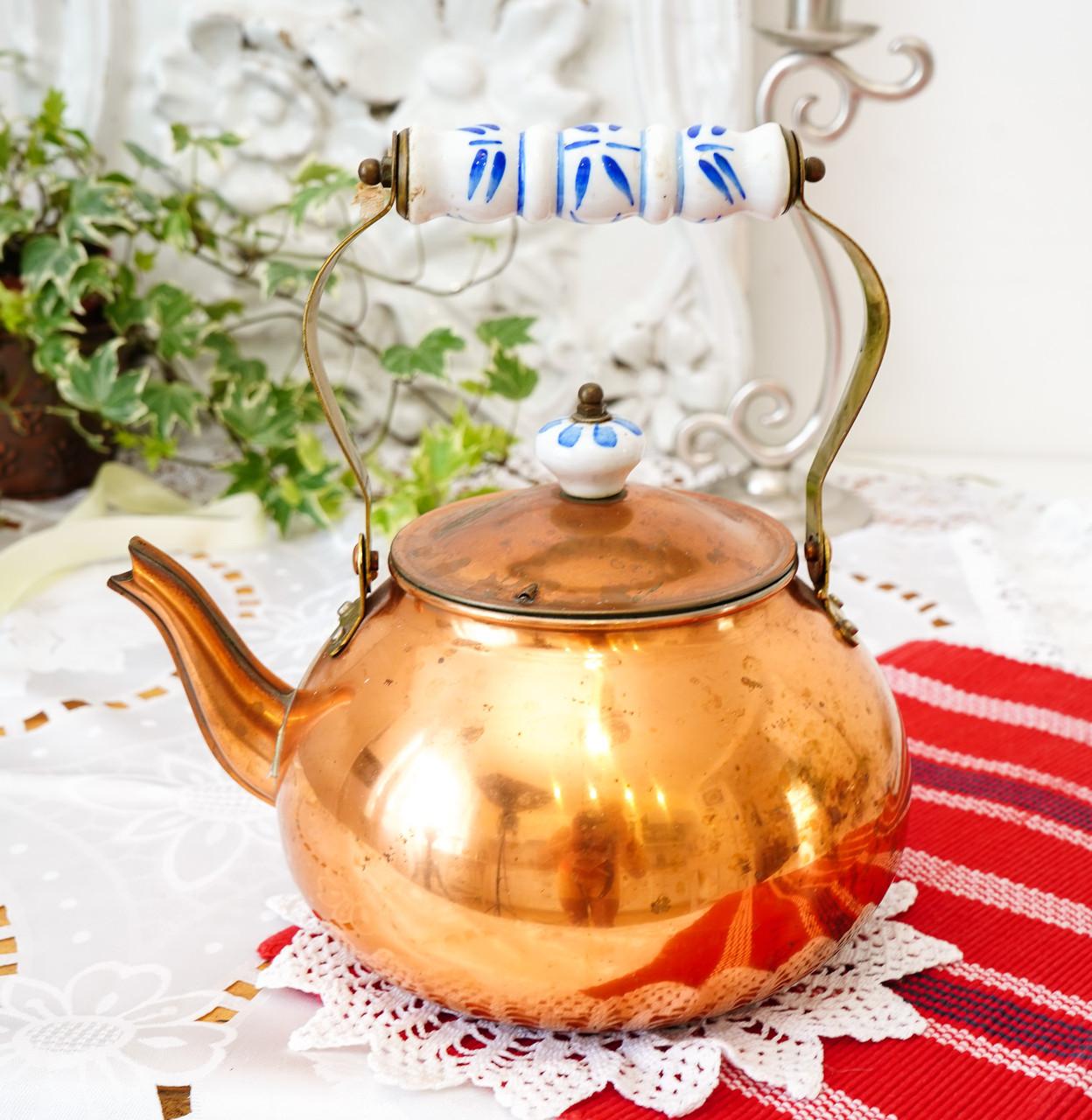 Вінтажний мідний чайник з порцелянової ручкою, мідь, Німеччина або Європа, 1,9 літра