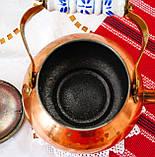 Винтажный медный чайник с фарфоровой ручкой, медь, Германия или Европа, 1,9 литра, фото 7