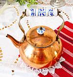 Винтажный медный чайник с фарфоровой ручкой, медь, Германия или Европа, 1,9 литра, фото 4