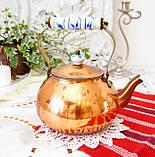 Винтажный медный чайник с фарфоровой ручкой, медь, Германия или Европа, 1,9 литра, фото 3