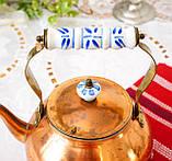 Винтажный медный чайник с фарфоровой ручкой, медь, Германия или Европа, 1,9 литра, фото 5