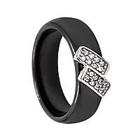 """Кольцо """"Зиг-заг"""" чёрная керамика"""