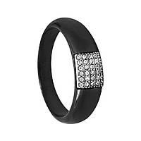 """Кольцо """"Прямоугольник"""" чёрная керамика"""