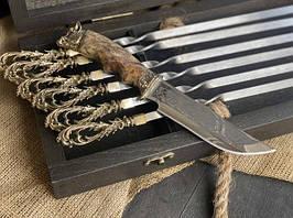 """Набір шампурів ручної роботи """"Морський бриз"""" з ножем, в розписному буковому кейсі"""