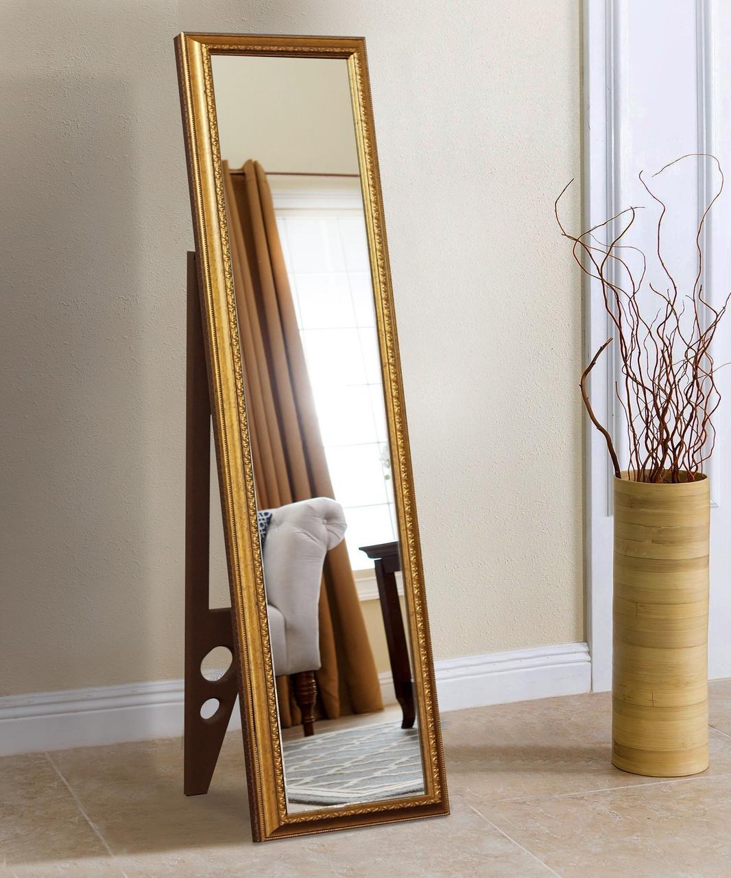 Підлогове дзеркало в золотій рамі 1650х400 мм
