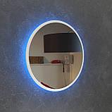 Круглое зеркало в белом цвете с подсветкой Led, 800 мм, фото 3