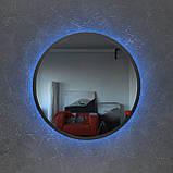Чорне кругле дзеркало з Led підсвічуванням 800 мм, фото 2