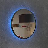 Чорне кругле дзеркало з Led підсвічуванням 800 мм, фото 3