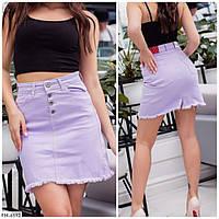 Короткая джинсовая юбка мини женская летняя цветной джинс коттон р-ры 25-30 арт. 6592/6593