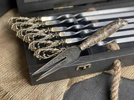 """Набір шампурів ручної роботи """"Морський бриз"""" з вилкою, в розписному буковому кейсі"""