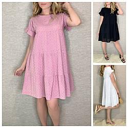 Р 42-52 Літня сукня-трапеція з прошвы 24080