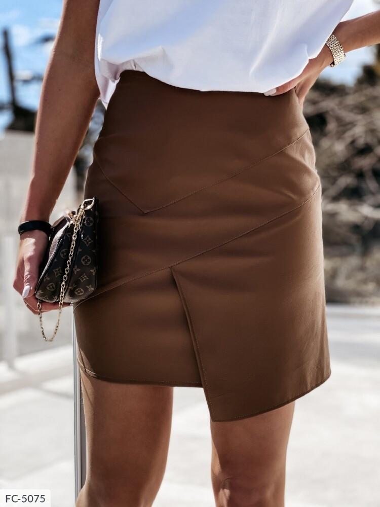Кожаная короткая юбка мини облегающая стильная модная р-ры 42-46 арт. 798