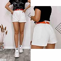 Короткі джинсові шорти жіночі білі літні із завищеною талією р-ри 42-46 арт.750