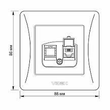 Розетка CAT3 одинарная телефонная VIDEX BINERA кремовая VF-BNSK1TF3-CR, фото 3