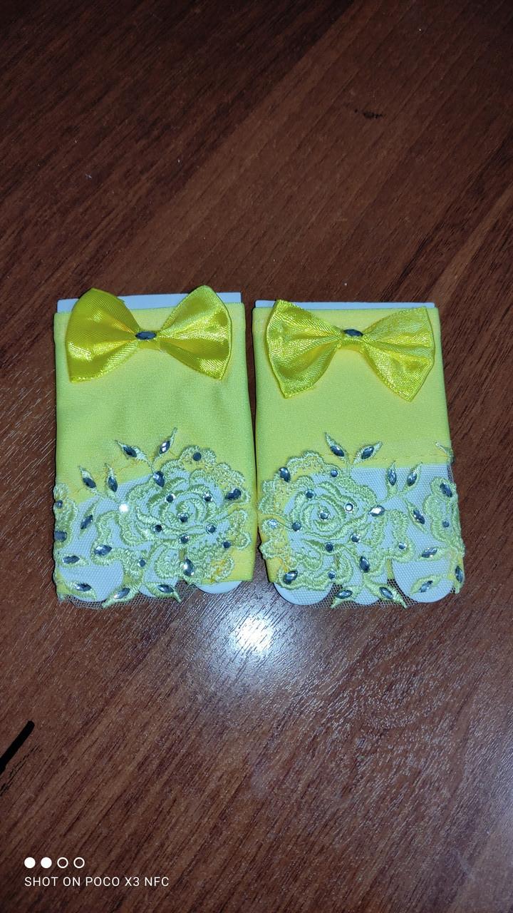 Перчатки короткие ,цвет желтый