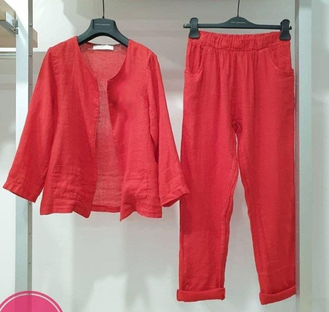 Женский костюм, лён, р-р универсальный 42-46; 48-52 (красный)