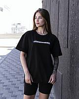 Женская стильная футболка оверсайз длинная черная, модные женские футболки oversize однотонные с принтом