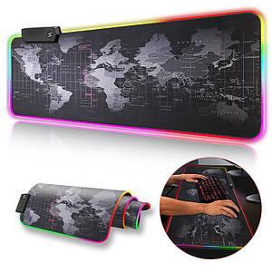 Ігрова поверхня, килимок карта світу RGB Gaming Mouse Pad c підсвічуванням 780 x 300 мм