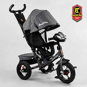 Велосипед триколісний Best Trike 3390/43-565 Сірий | Велосипед-коляска з батьківською ручкою