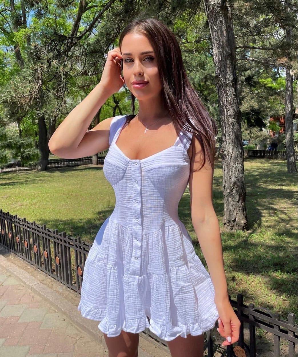 Жіноче плаття, двошаровий муслін, р-р С; М (білий)
