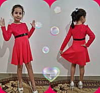 """Нарядное детское платье """"Гипюр"""" красное. р.116,122,128,134,140"""