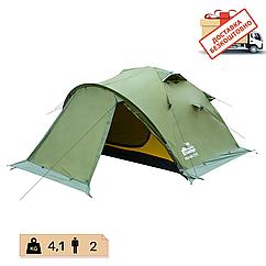Намет 2-х місний двошаровий туристичний непромокаючий з тамбуром Tramp Mountain 2 TRT-022-green