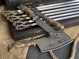"""Набір шампурів ручної роботи """"Морський бриз"""" з ножем, виделкою і секачем в розписному буковому кейсі"""