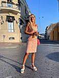 Приталенный сарафан в горошек летний льняной с рюшами на груди и пуговицами по всей длине (р. S-M) 73032724, фото 4