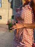 Приталенный сарафан в горошек летний льняной с рюшами на груди и пуговицами по всей длине (р. S-M) 73032724, фото 6