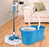 Турбо швабра с ведром Spin MOP 360 голубая с отжимом для уборки и мытья пола, Швабра с отжимом спин моп, фото 2