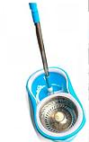 Турбо швабра с ведром Spin MOP 360 голубая с отжимом для уборки и мытья пола, Швабра с отжимом спин моп, фото 3