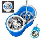 Турбо швабра с ведром Spin MOP 360 голубая с отжимом для уборки и мытья пола, Швабра с отжимом спин моп, фото 5
