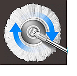 Турбо швабра с ведром Spin MOP 360 голубая с отжимом для уборки и мытья пола, Швабра с отжимом спин моп, фото 6