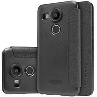 Кожаный чехол Nillkin Sparkle для LG Google Nexus 5X чёрный, фото 1