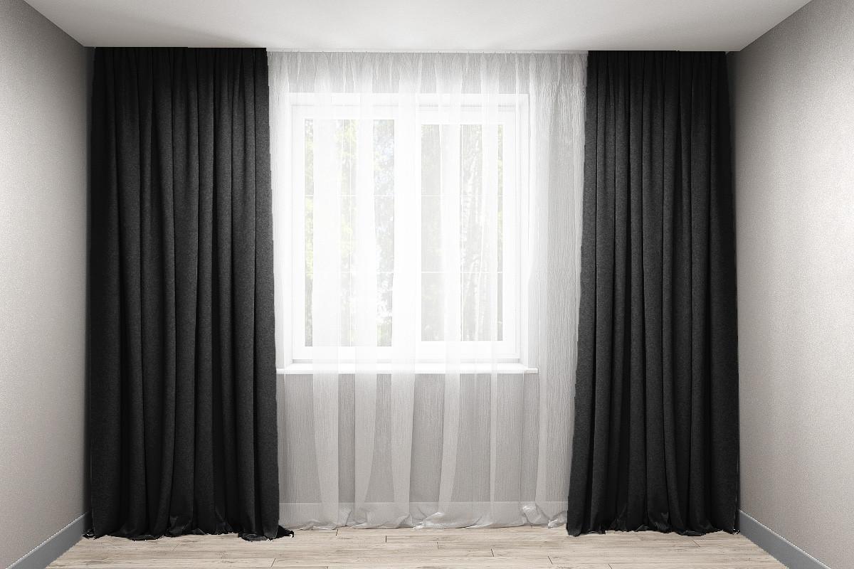 Комплект штор микровельвет Чорний