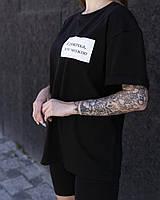 """Женская стильная футболка оверсайз длинная черная, модные женские футболки oversize с принтом """"Смотри"""""""