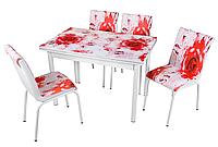 """Раскладной стол обеденный кухонный комплект стол и стулья 3D 3д """"Красные бутоны"""" ДСП стекло 70*110 Mobilgen"""